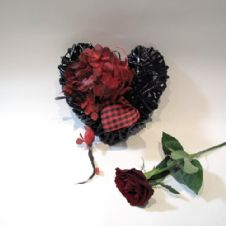 Small Black wooden heart with a red rose / Μικρή Μαύρη ξύλινη καρδιά με ένα κόκκινο τριαντάφυλλο